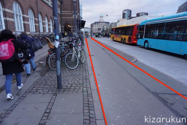 コペンハーゲン1日観光で見た自転車専用レーン
