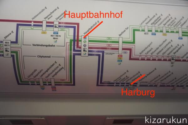 ハンブルク半日観光で乗った地下鉄の路線図