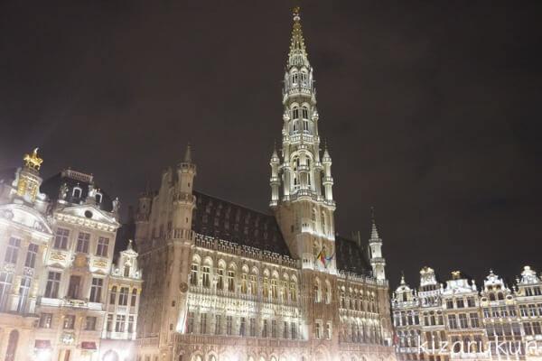 ブリュッセル半日観光で行ったグランプラスのライトアップ