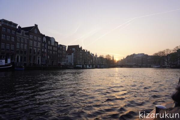 アムステルダム1日観光で行った運河ツアーからの眺め