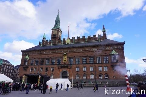 デンマーク・コペンハーゲン1日観光で散策したストロイエ:コペンハーゲン市庁舎