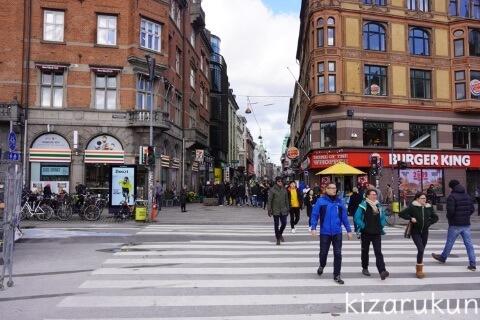 デンマーク・コペンハーゲン1日観光で散策したストロイエ:セブンイレブンとバーガーキング