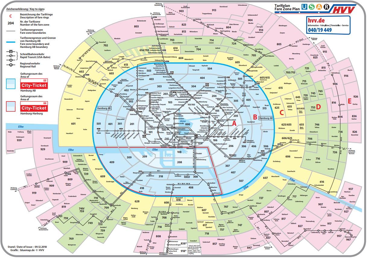 ハンブルクHVVのringsの範囲を示した図:S-Bahn、H-Bahn、A-Bahn、バスで有効、Tageskarteでも使える